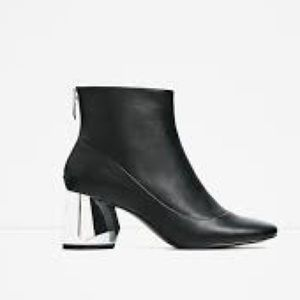 Zara Round Toe Leather Ankle Boot with metal heel